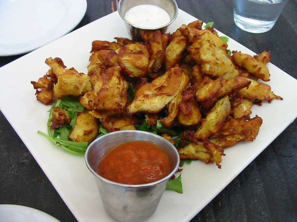 Fried artichoke hearts with marinara and ranch dipping sauce, from Sage Bistro, LA. Perfect example of 'food.'